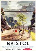 Bristol, Clifton Suspension Bridge. Vintage BR Travel poster by LA Wilcox. c1950